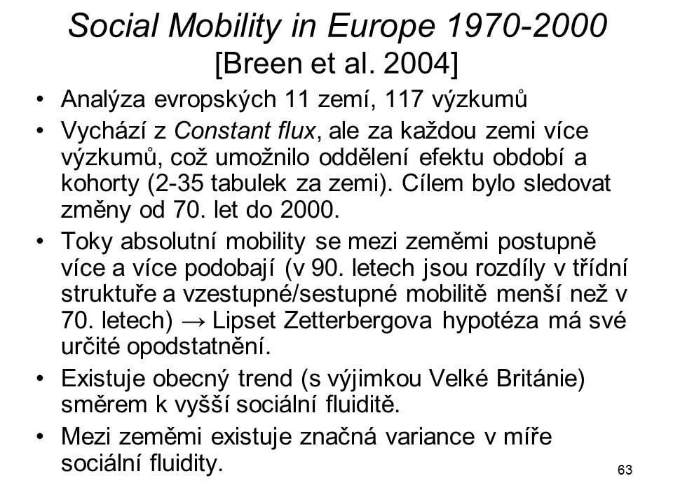 Social Mobility in Europe 1970-2000 [Breen et al. 2004]